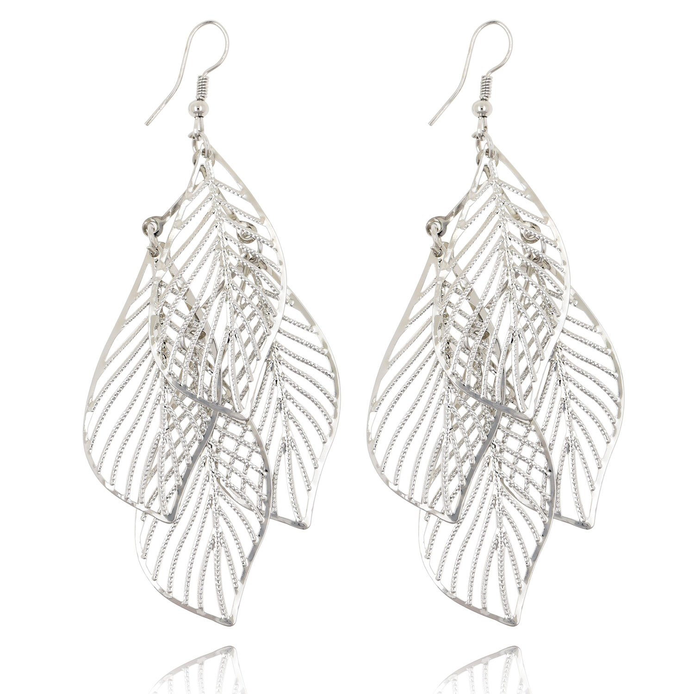 Statement Leaf Cluster Dangle Earrings for Women Girls-Gold Silver Gunmetal Colors (Silver)