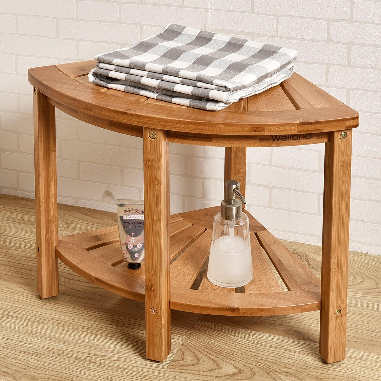 Amazon.com: WELLAND Corner Shower Bench with Storage Shelf, Bamboo ...