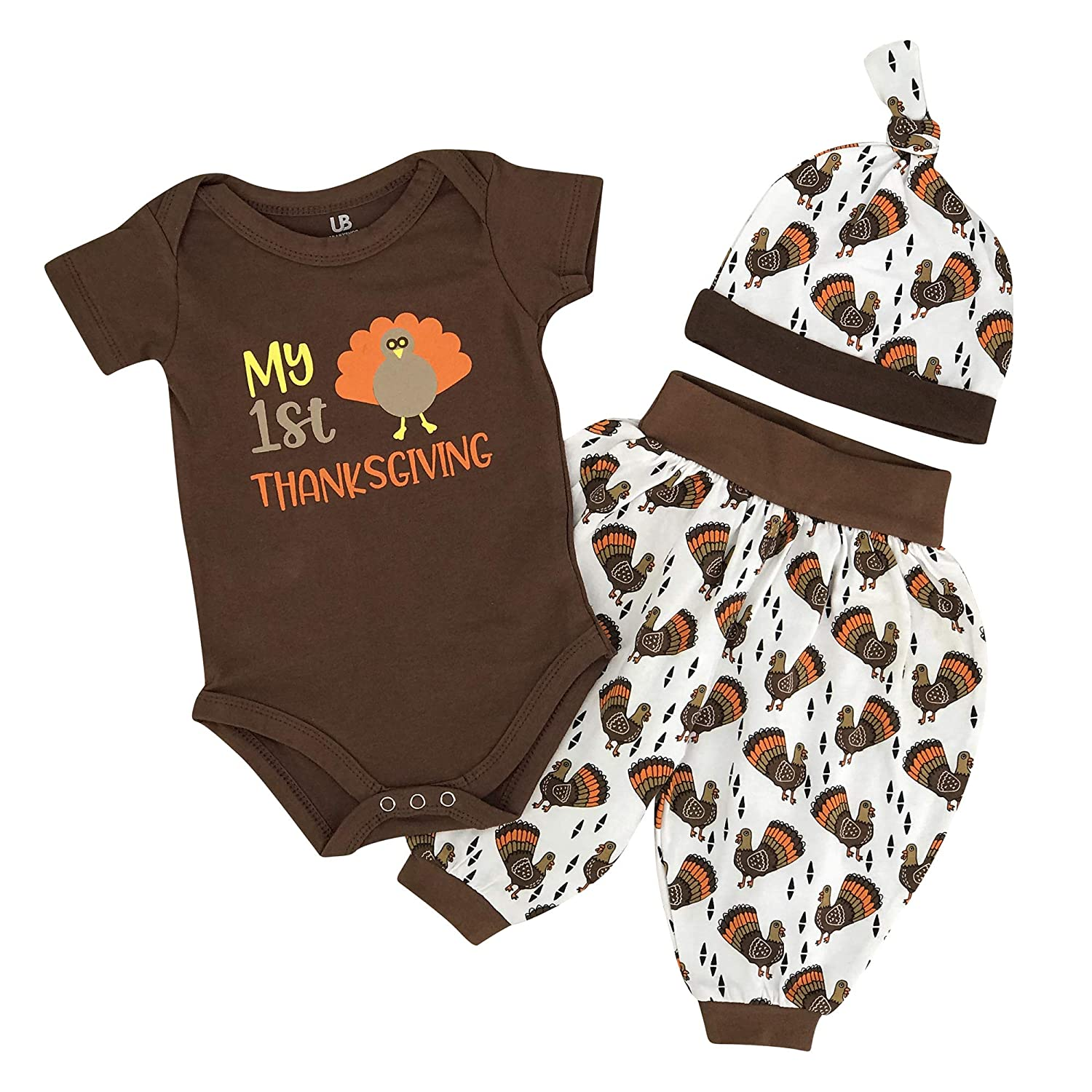 Unique Baby Unisex My 1st Thanksgiving Turkey Layette Harem Pants Outfit