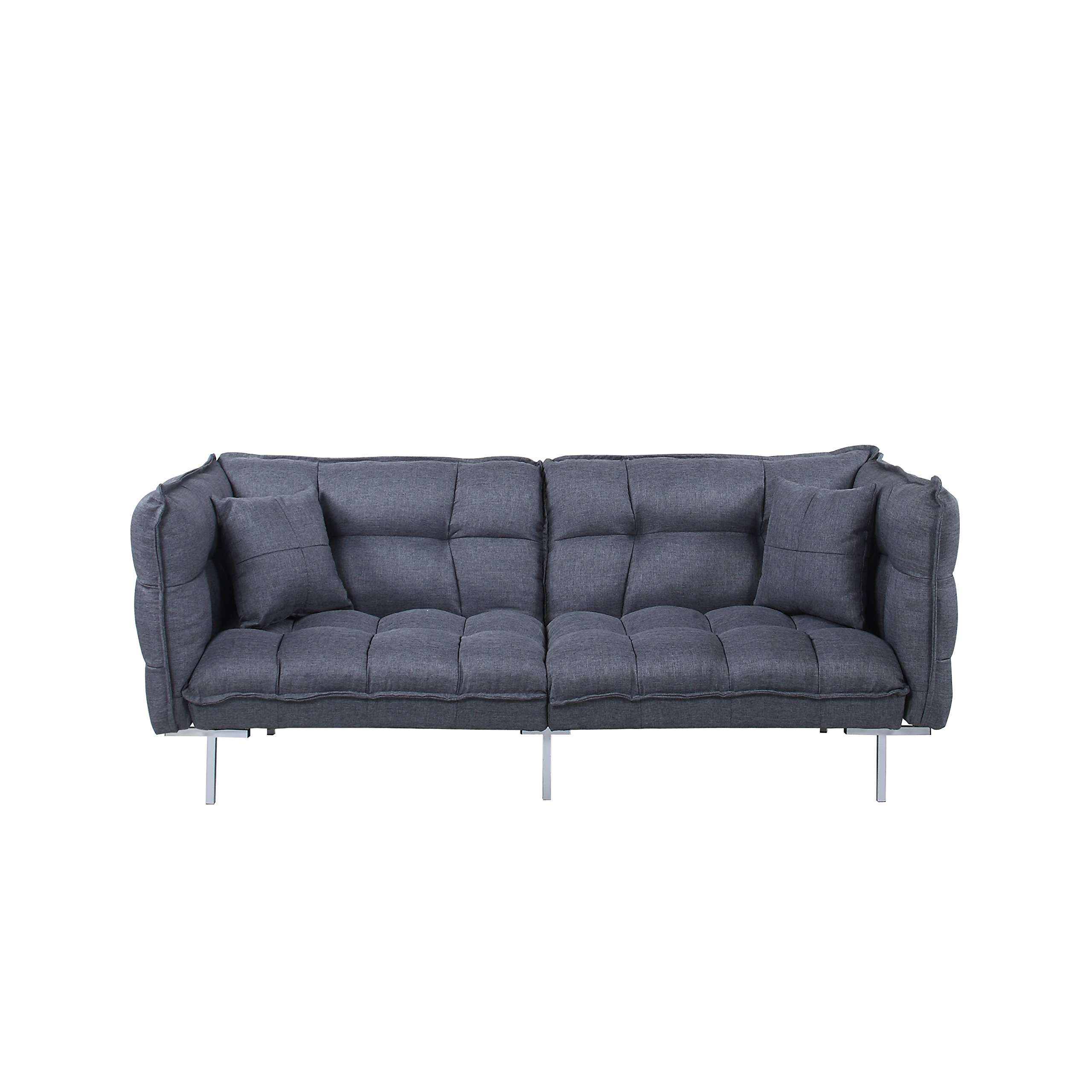 DIVANO ROMA FURNITURE Collection – Modern Plush Tufted Linen Fabric Splitback Living Room Sleeper Futon