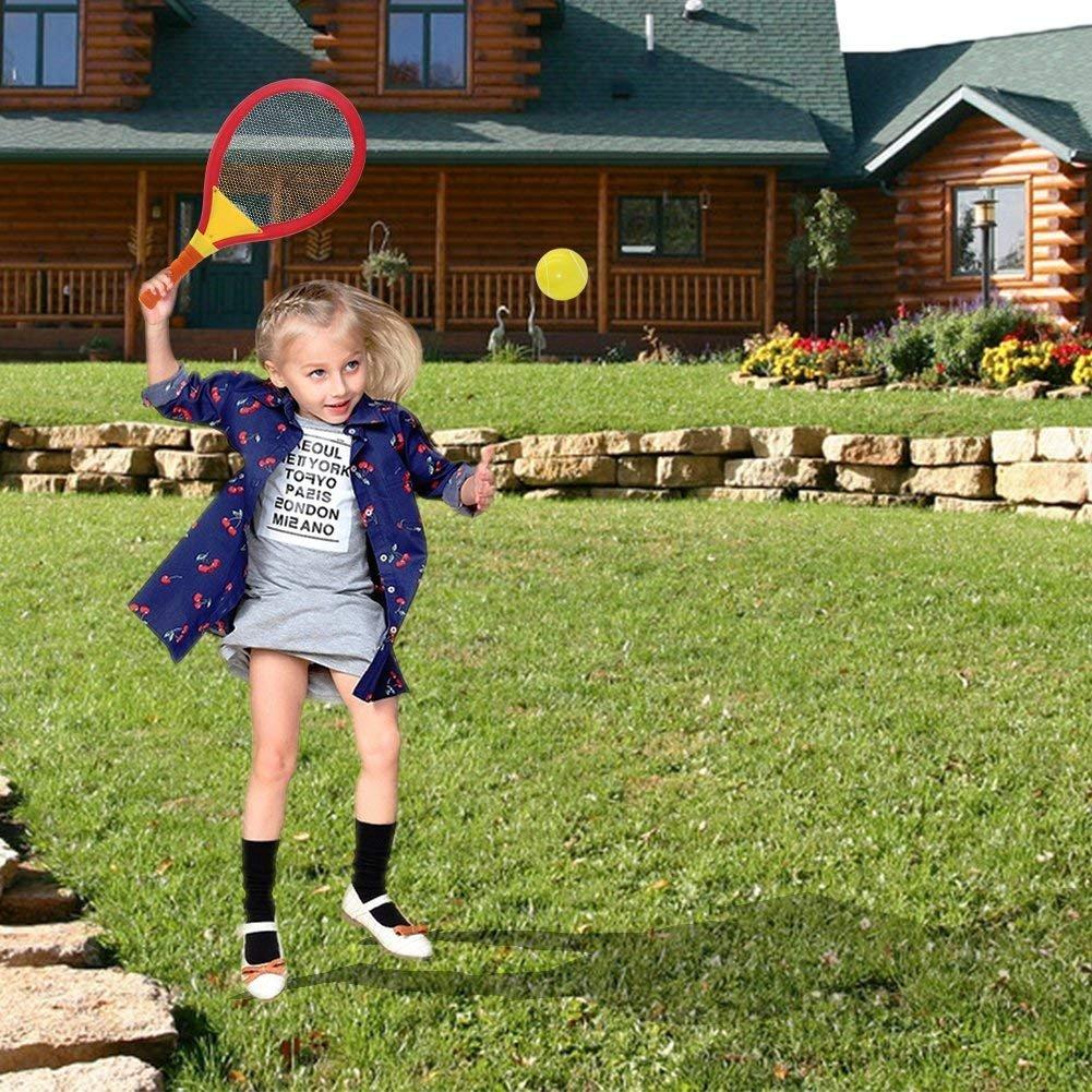 Racchetta Tennis Badminton Set 2 in 1 con Palla da Tennis di Badminton Giocattolo per Bambini 3 4 5 Anni