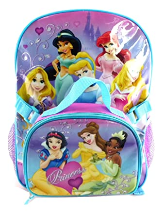 7718238ce96 Purple Disney Princess Backpack with Lunch Bag - Full Size Disney Princess  Ba...  Amazon.co.uk  Toys   Games