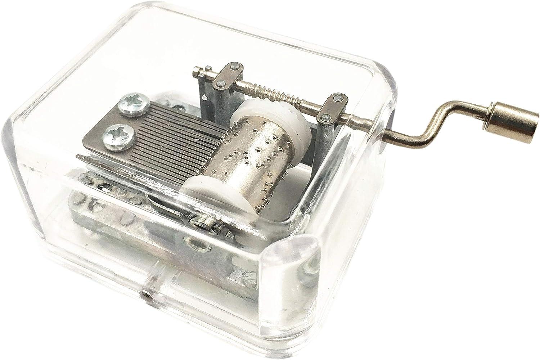 Caja de música Transparente con Mecanismo de arílico, Caja de música, manivela de Mano, Caja de música pequeña con Dulce Tono a Alice Castle en el Cielo Juguete Musical Regalo para niños y Amigos
