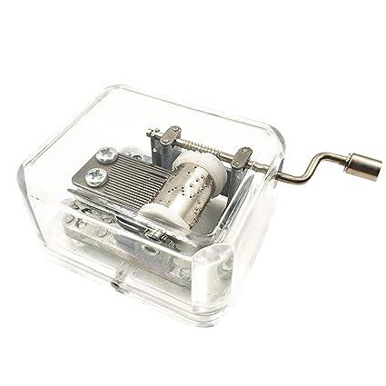 Caja de música Transparente con Mecanismo de arílico, Caja de música, manivela de Mano