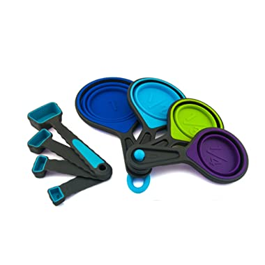 Portable Silicone Nested Measuring Cups Set, Attachable Measuring Cups And Stackable Spoons, Heat Resistant & BPA Free Silicone tools, 4 pc Expandable Collapsible Cups And 4 piece Swivel Spoons