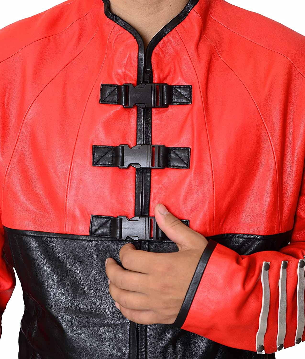 Abbraci Men Military Style Real Genuine Red and Black Leather Jacket