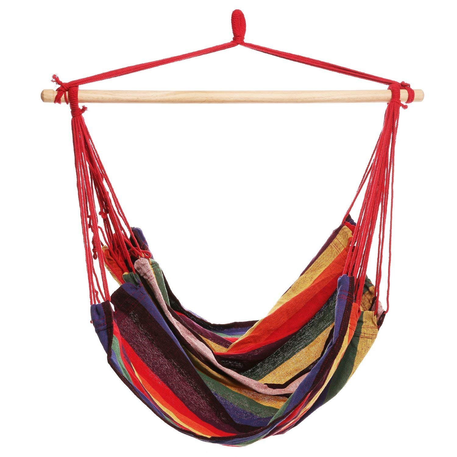 Syber Monday Deal Week Durable 265 lb Hanging Hammock Chair Colorful Hanging Swing Set for Indoor and Outdoor US Stock Rainbow