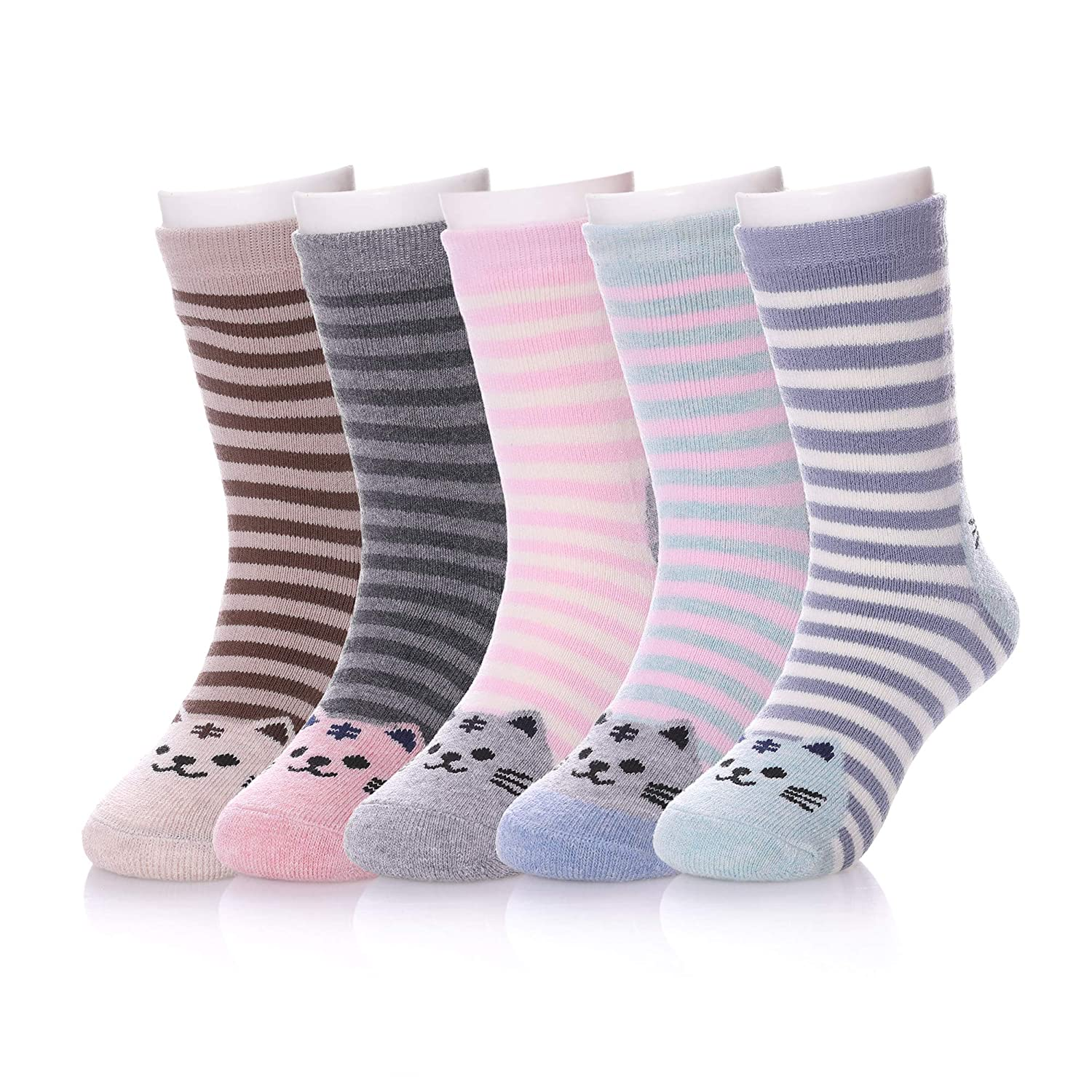 HERHILLY Toddler Kids Winter Cartoon Cat Cotton Socks Boys Girls Athletic Crew Socks For 1-12 Year Old 5 Pack
