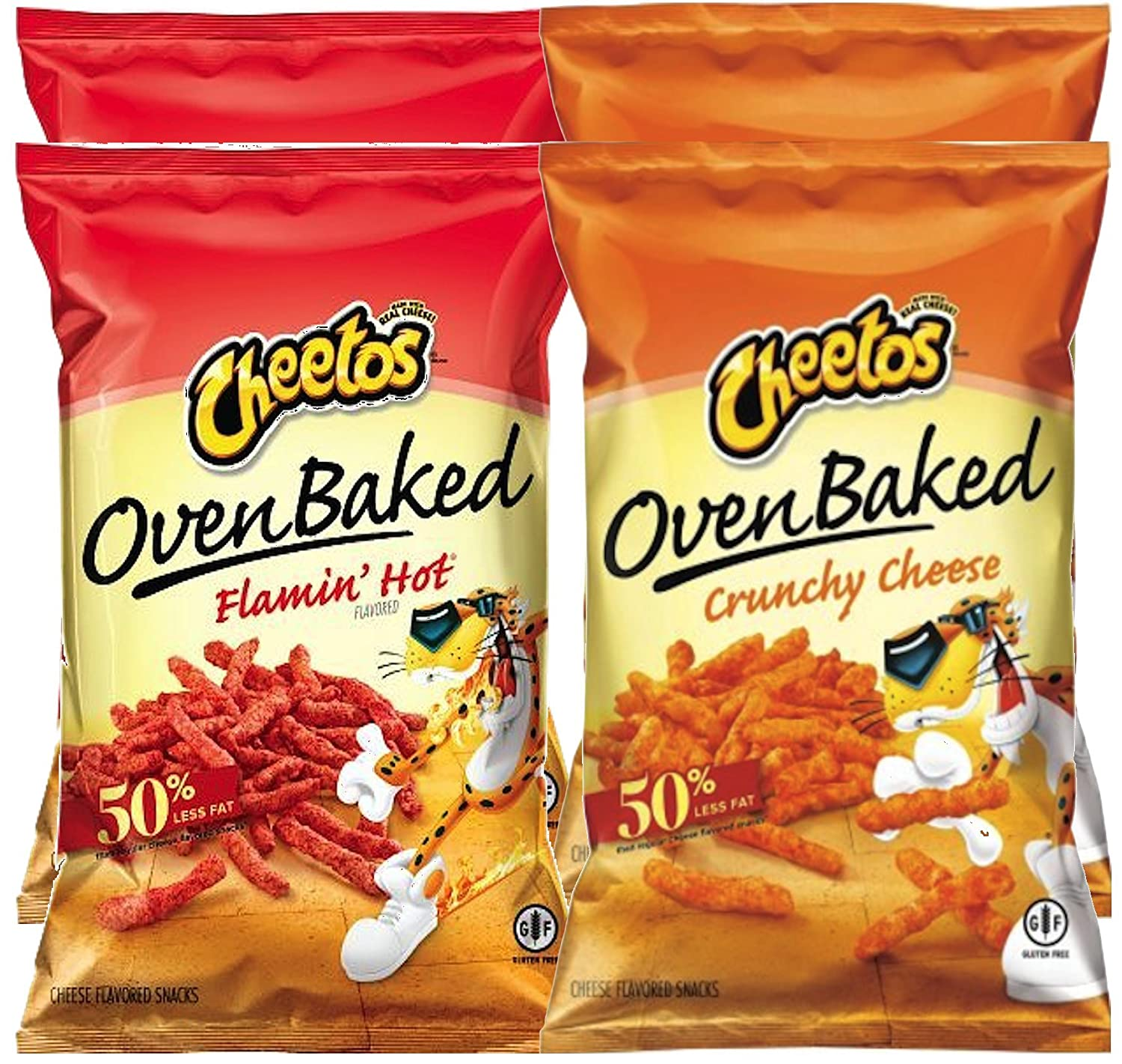 Cheetos Oven Baked Flamin' Hot & Cheetos Oven Baked Crunchy Cheese Gluten Free Snacks 7.63 Oz (pack of 4)