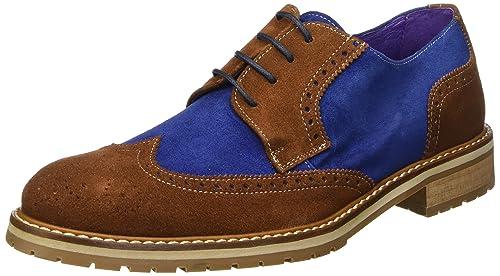 SOTOALTO - Blucher, Zapatos de Hombre, Multicolor (Marron/Marino), 40