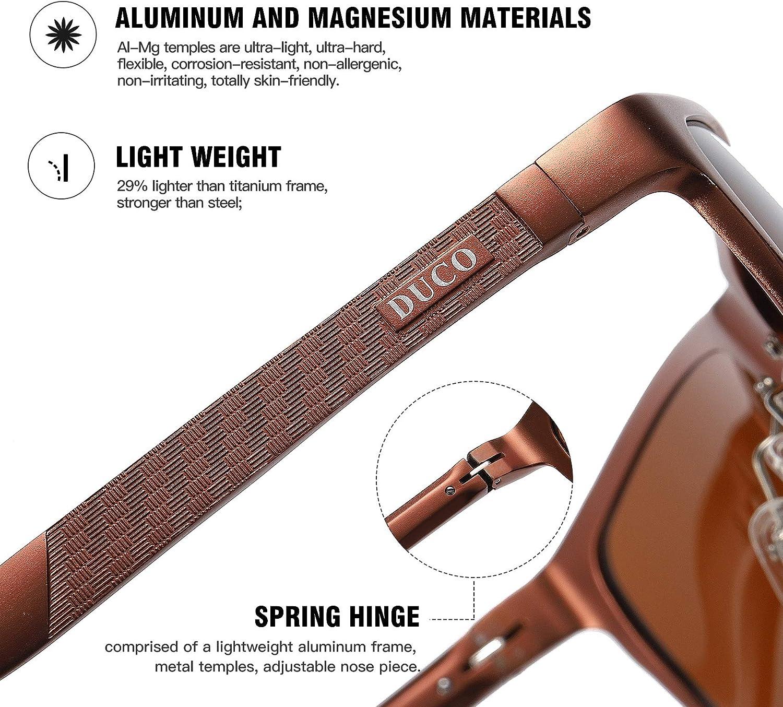 DUCO Men's Sports Polarized Al-Mg Metal Frame Sunglasses UV Protection Sunglasses for Men 8200 Brown Frame Brown Lens