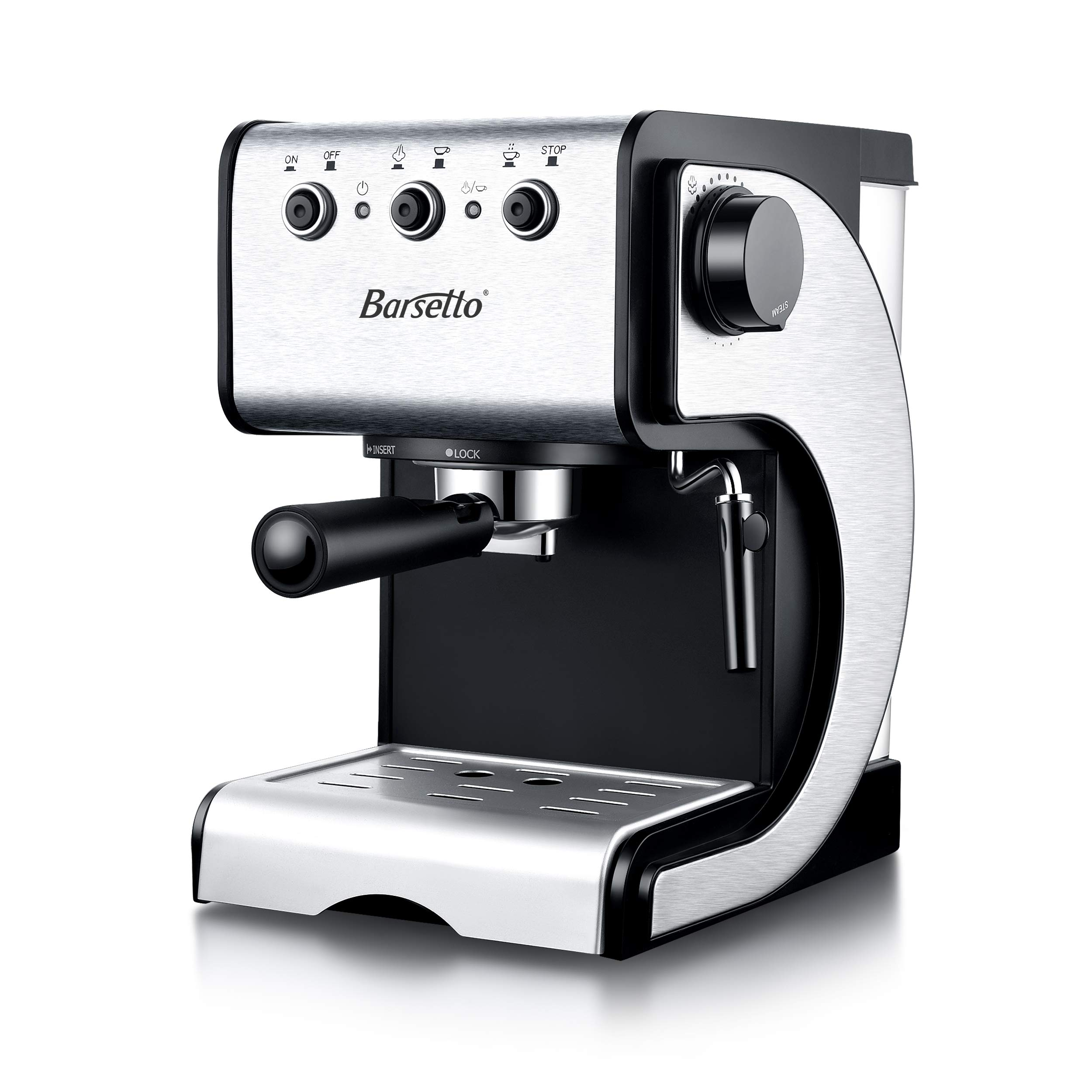 Espresso Machine Barsetto Coffee Machine 15 Bar Stainless Steel Coffee Brewer with Independent Milk Frother Wand for Cappuccino, Latte and Mocha (black)