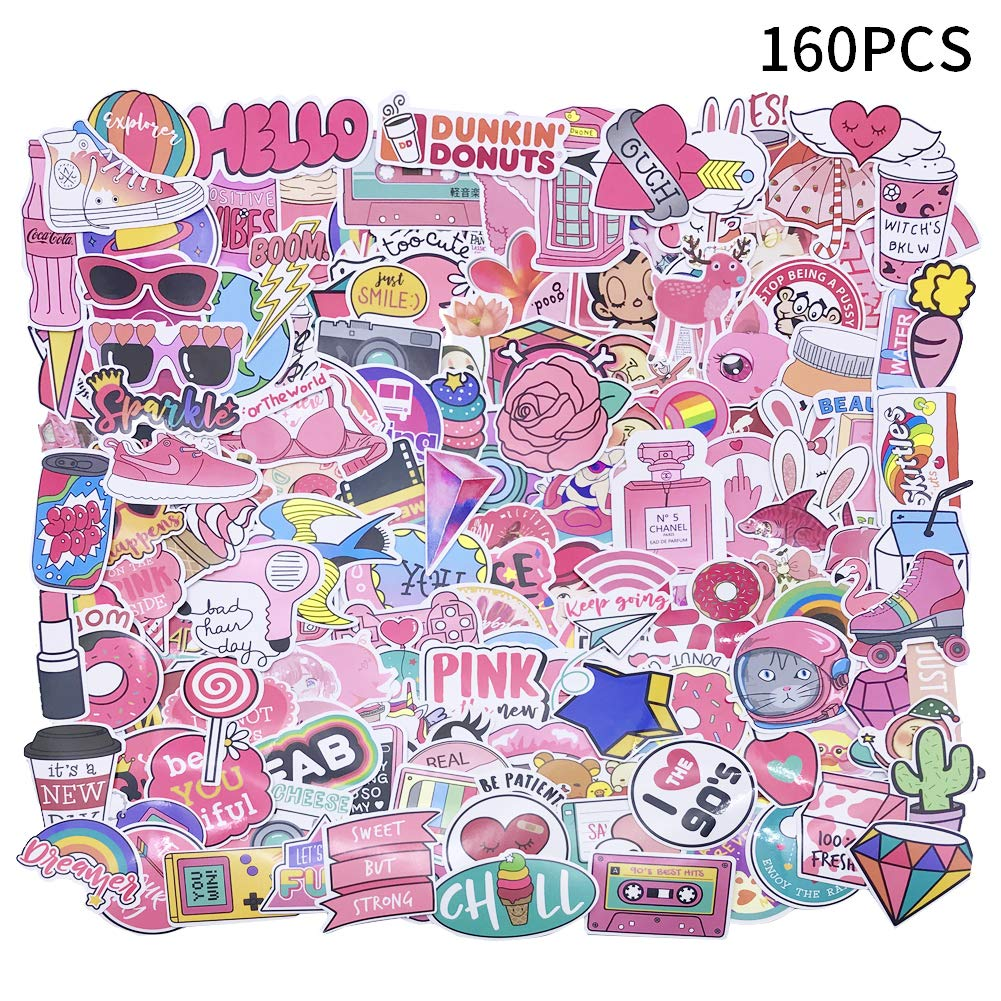 Amazon com yizeda 160 pcs girl cute lovely laptop stickers pink decorative stickers phone guitar water bottle motorcycle skateboard bicycle bike sticker