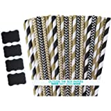 Outside the Box Papers Black and Gold Chevron and Striped Paper Straws 7.75 Inches 100 Pack Black, Gold, White