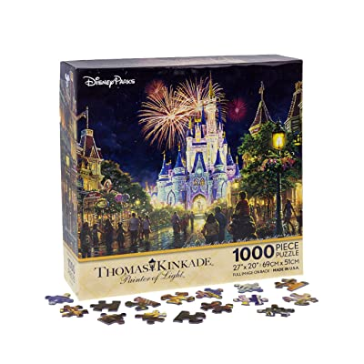"Walt Disney World Thomas Kinkade Main Street U.S.A. Fireworks 27""x20"" 1000 Piece Puzzle: Toys & Games"