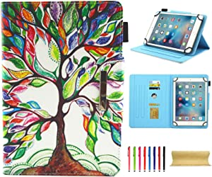 Universal Case for 7.0 Inch Tablet, Techcircle Slim PU Leather Stand Folio Wallet Case for Samsung Galaxy Tab E Lite, Acer Iconia One 7, Google/RCA and More 7-inch Android Tablet, Life Tree