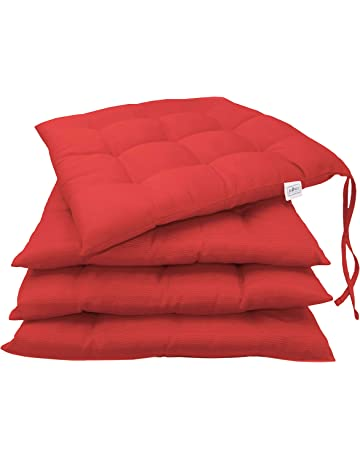 ZOLLNER 4 Cojines para Silla, 40x40 cm, Rojo, en varios colores