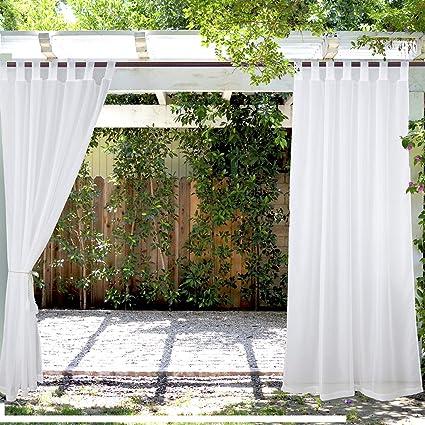 Amazon Com Pravive Outdoor Sheer Curtains 84 Waterproof Tab Top