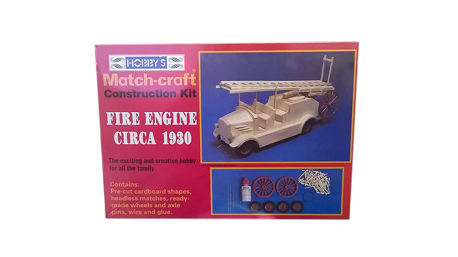 MATCHSTICK MODEL CONSTRUCTION KIT OF A FIRE ENGINE & LADDER (CIRCA 1930) INCLUDES GLUE & INSTRUCTIONS by Matchcraft 11541