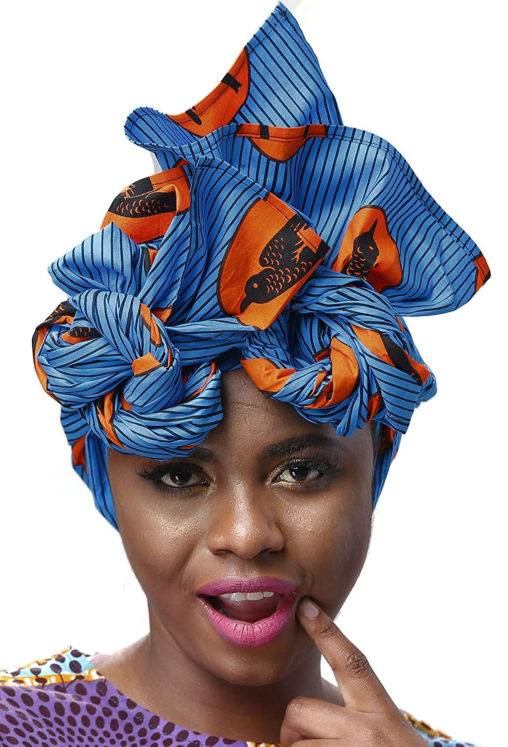 Shenbolen African Traditional Wax Print Head wrap Headwrap Scarf A)