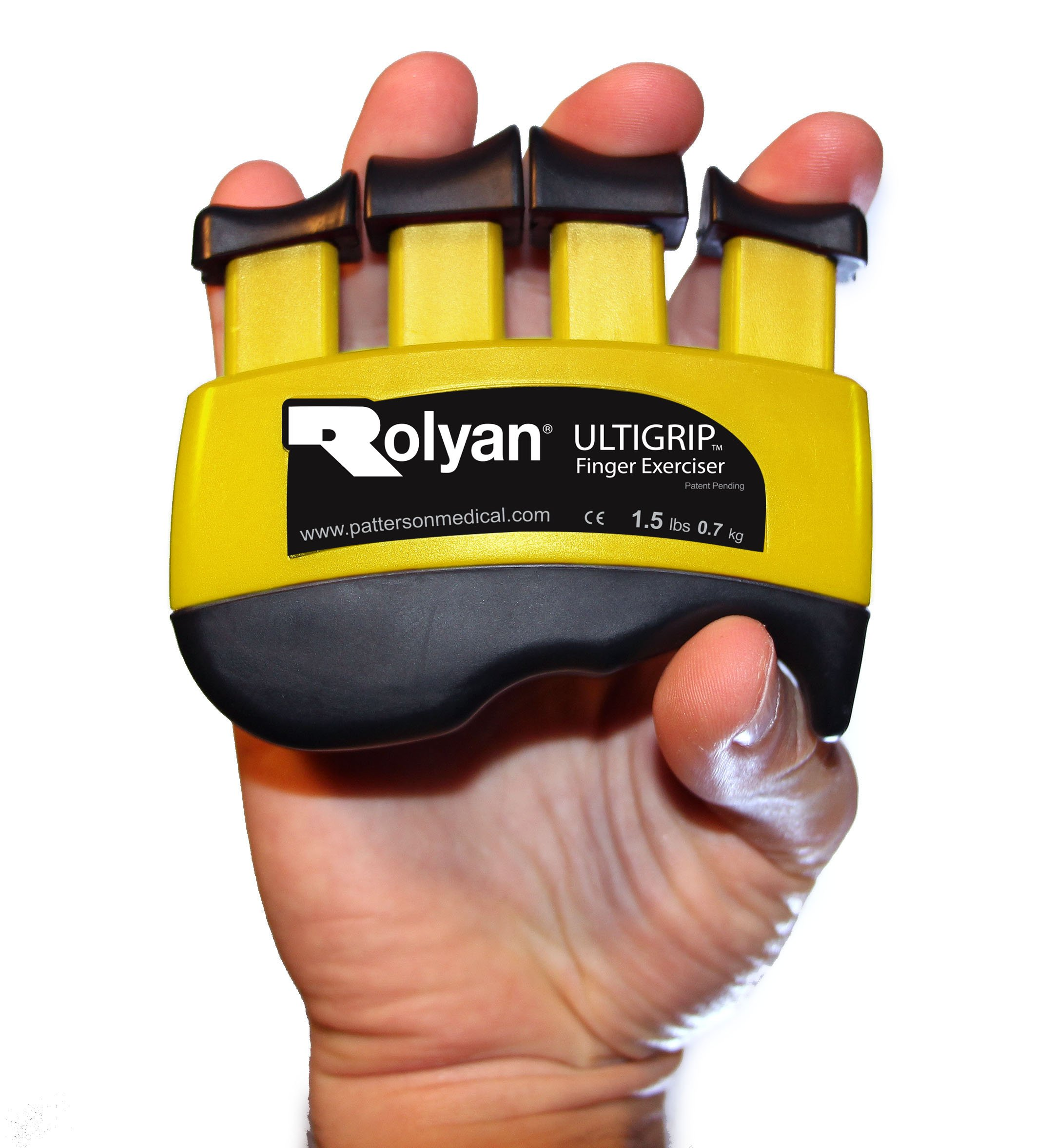 Rolyan Ultigrip Finger Exercisers, Yellow, 1.5-Pounds, Finger & Grip Strengthener for Physical Therapy, Ergonomic Hand Workout Aid, Portable Hand Exerciser for Home, Clinic, & Rehabilitation