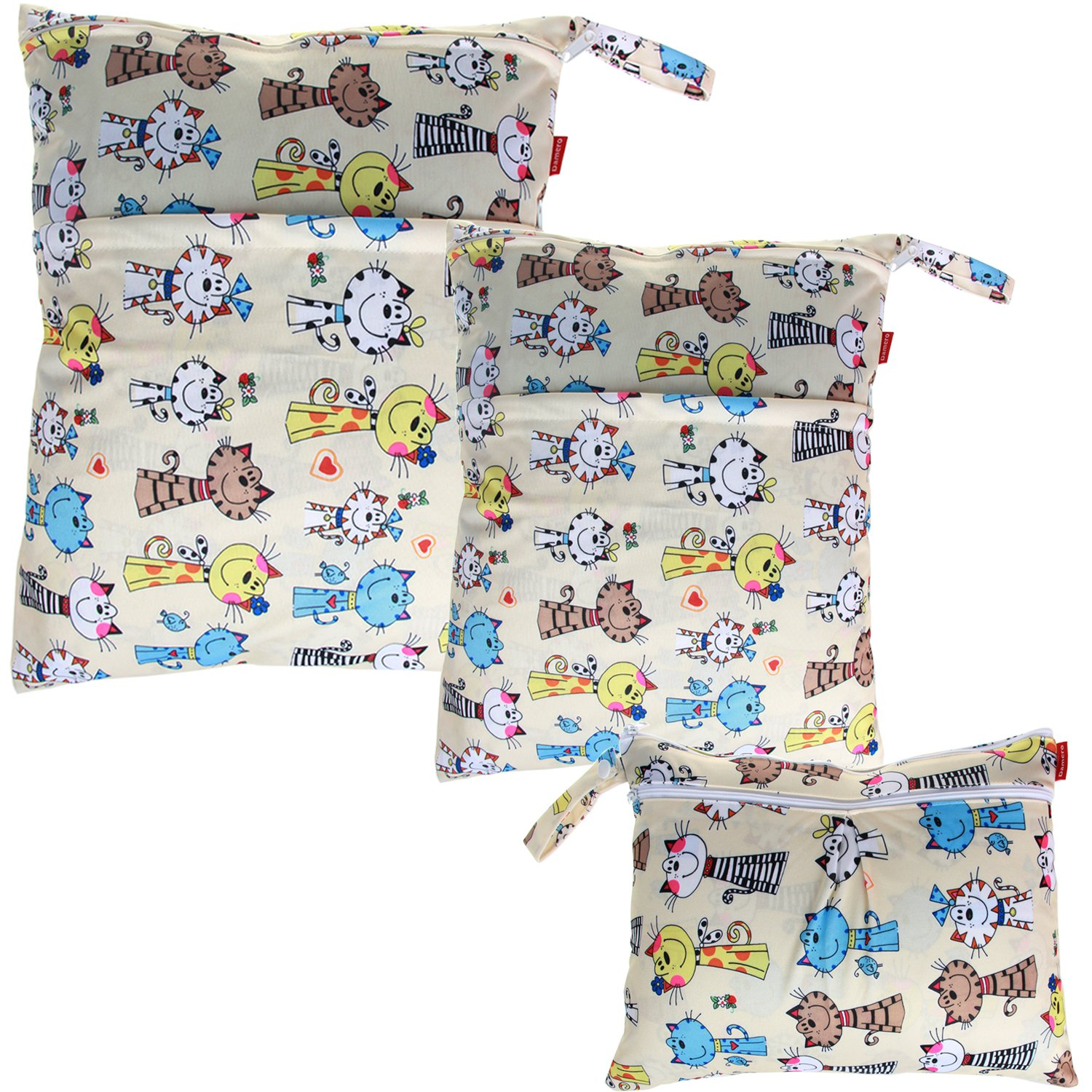 Damero 3pcs Pack Wet Dry Bag for Cloth Diapers Daycare Organizer Bag, Cats by Damero