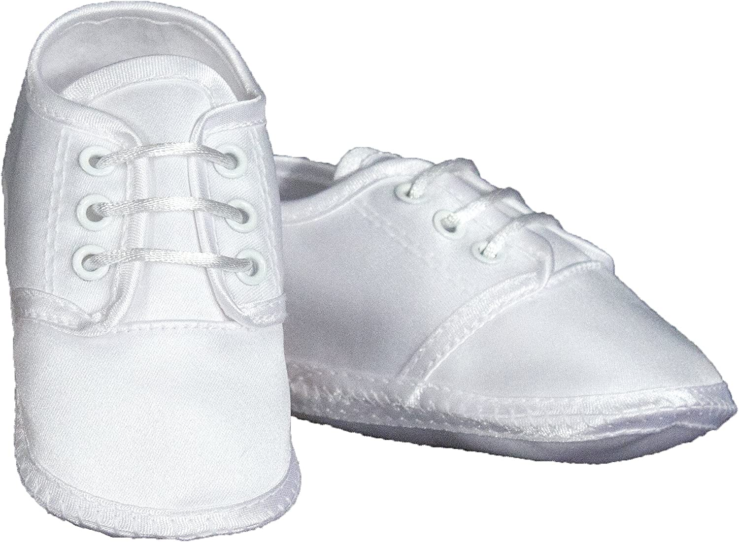 Baby Christening Wedding Crib Shoes Booties WHITE Satin Embroidered Cross 0-4 Mo