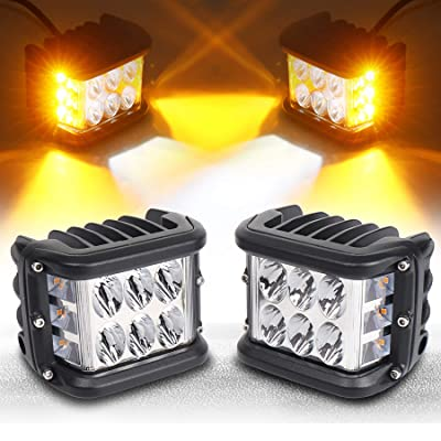 Side Shooter, LED Pods Light 4 inch Off Road Dual Side Yellow DRL with Flash Strobe Function Driving Flood Spot Cube Work Light Bar for Jeep Truck ATV Boat: Automotive