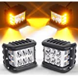 Side Shooter, LED Pods Light 4 inch Off Road Dual Side Yellow DRL with Flash Strobe Function Driving Flood Spot Cube…