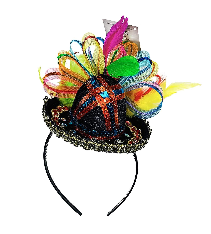 KINREX Cinco de Mayo Fiesta Sombrero Top Mexican Sombreros For Party Mexican Sequined Party Sombrero Headband One Size Fits All