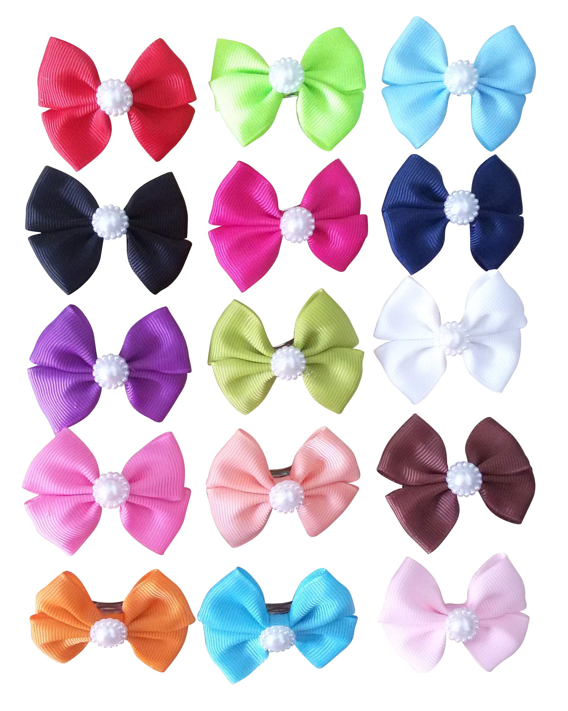 PET SHOW Plain Bowknot French Barrette Pet Dog Hair Bows Clips Puppy Cat Grooming Hair Accessories Pack of 10 by PET SHOW