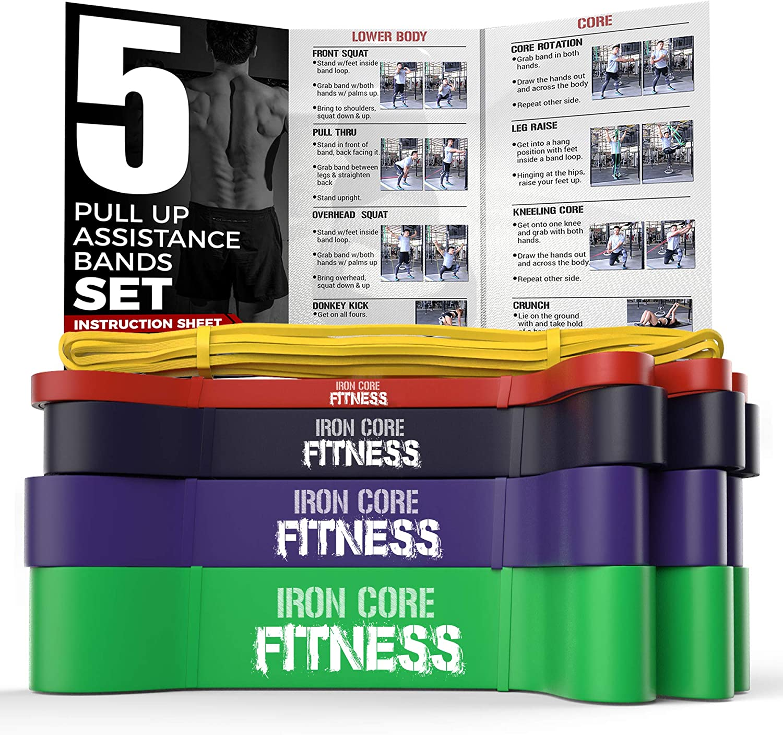 Juego de 5 bandas de ayuda para dominadas, bandas de resistencia largas, de calidad de gimnasio, ligeras, medianas, pesadas, para entrenamiento de ...