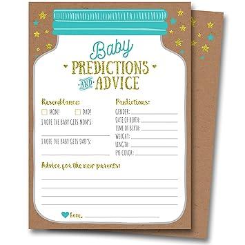 efc89addebdea 50 Mason Jar Baby Shower Prediction and Advice Cards - Gender Neutral Boy  or Girl, Baby Shower...