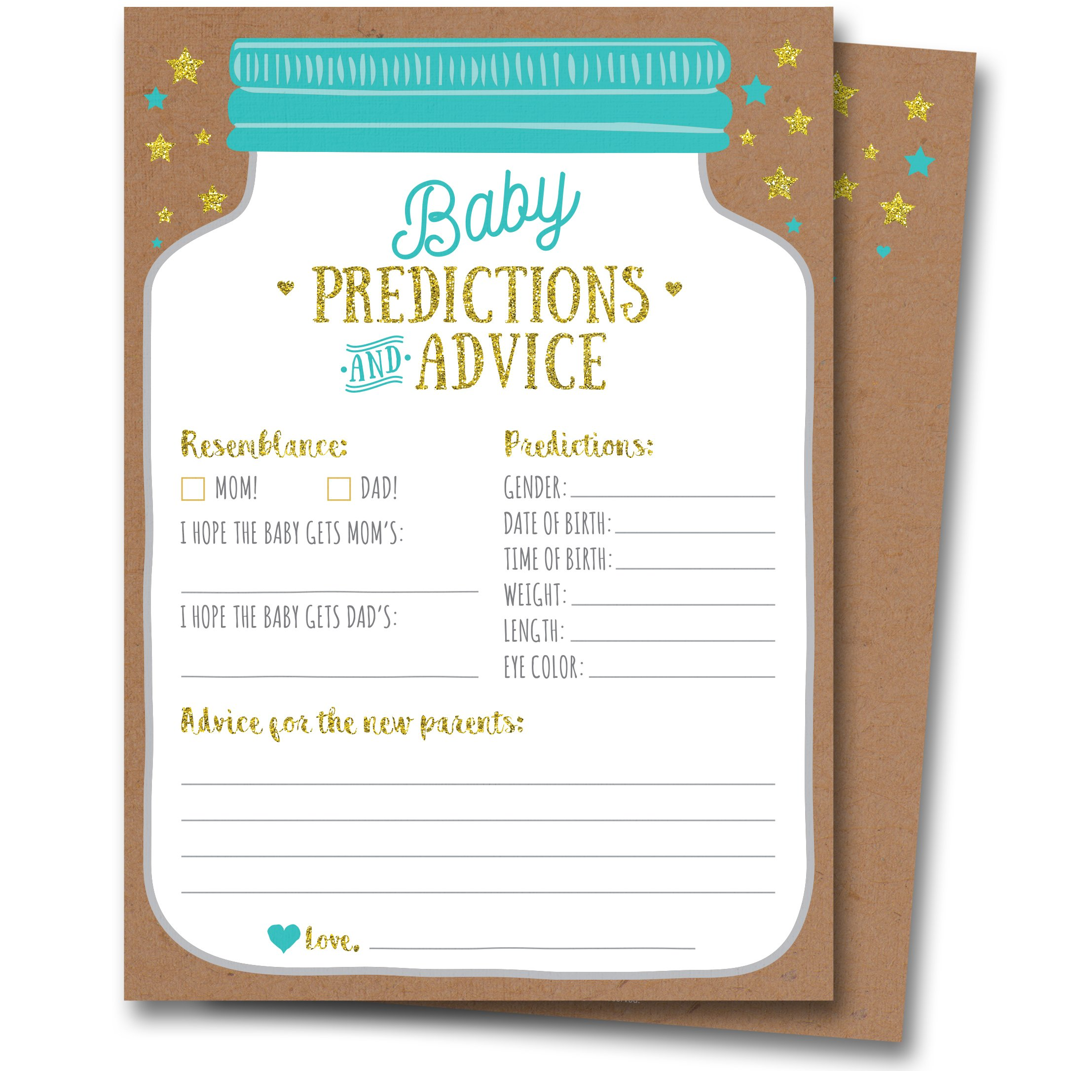 50 Mason Jar Baby Shower Prediction and Advice Cards - Gender Neutral Boy or Girl, Baby Shower Games Favors