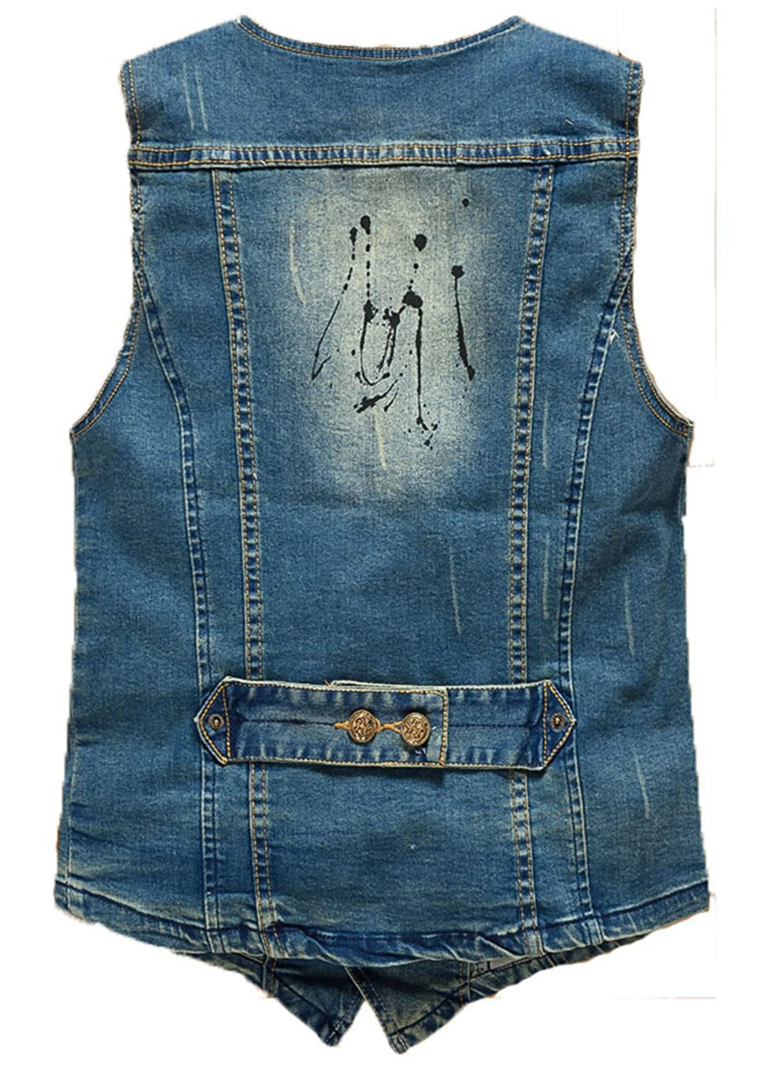 YOUTHUP Mens Denim Waistcoat Fashionable V Neck Casual Jean Vest