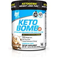BPI Sports Keto Bomb Ketogenic Creamer for Coffee and Tea, Caramel Macchiato, 18 Count