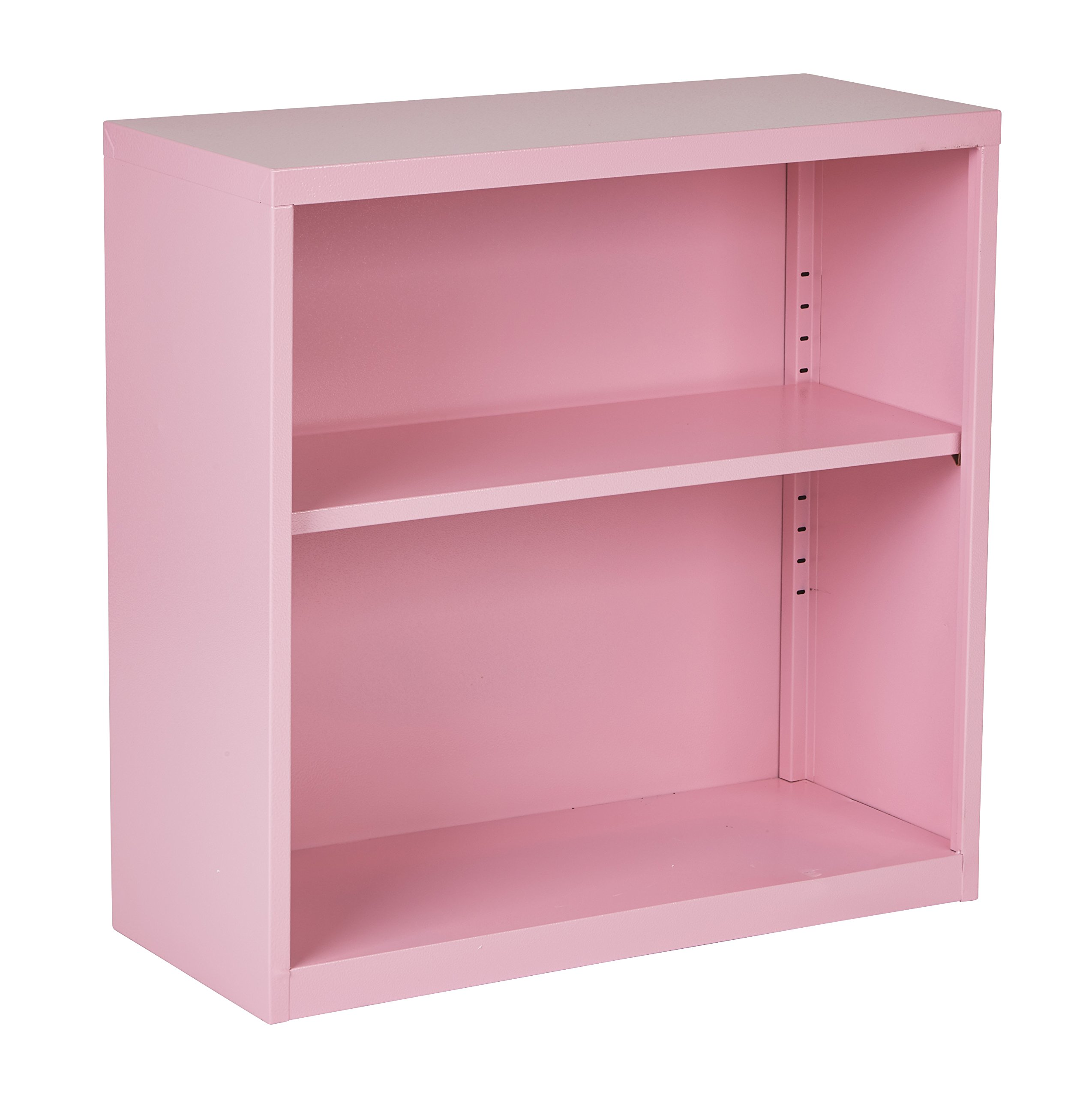 Office Star Metal Bookcase with 1 Adjustable Shelf, Pink Finish