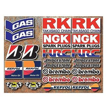 Moto Carrera 24 x Pegatinas HRC Gas RK NGK Bridgestone Brembo Repsol Motorcycle: Amazon.es: Coche y moto