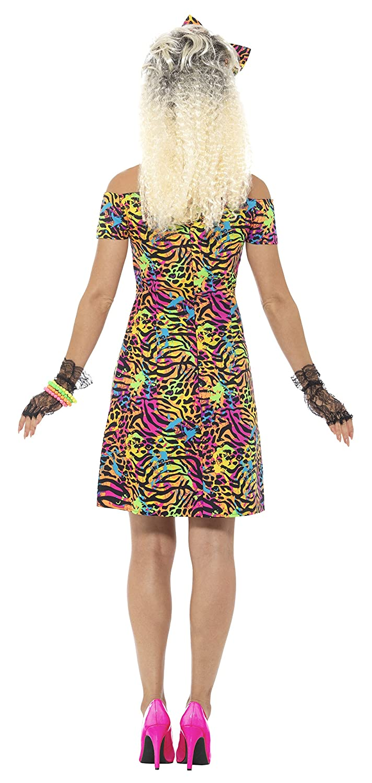 Kleid und Haarschleife Gr/ö/ße: 36-38 45952 Smiffys Damen 80er Jahre Party Tier Kost/üm