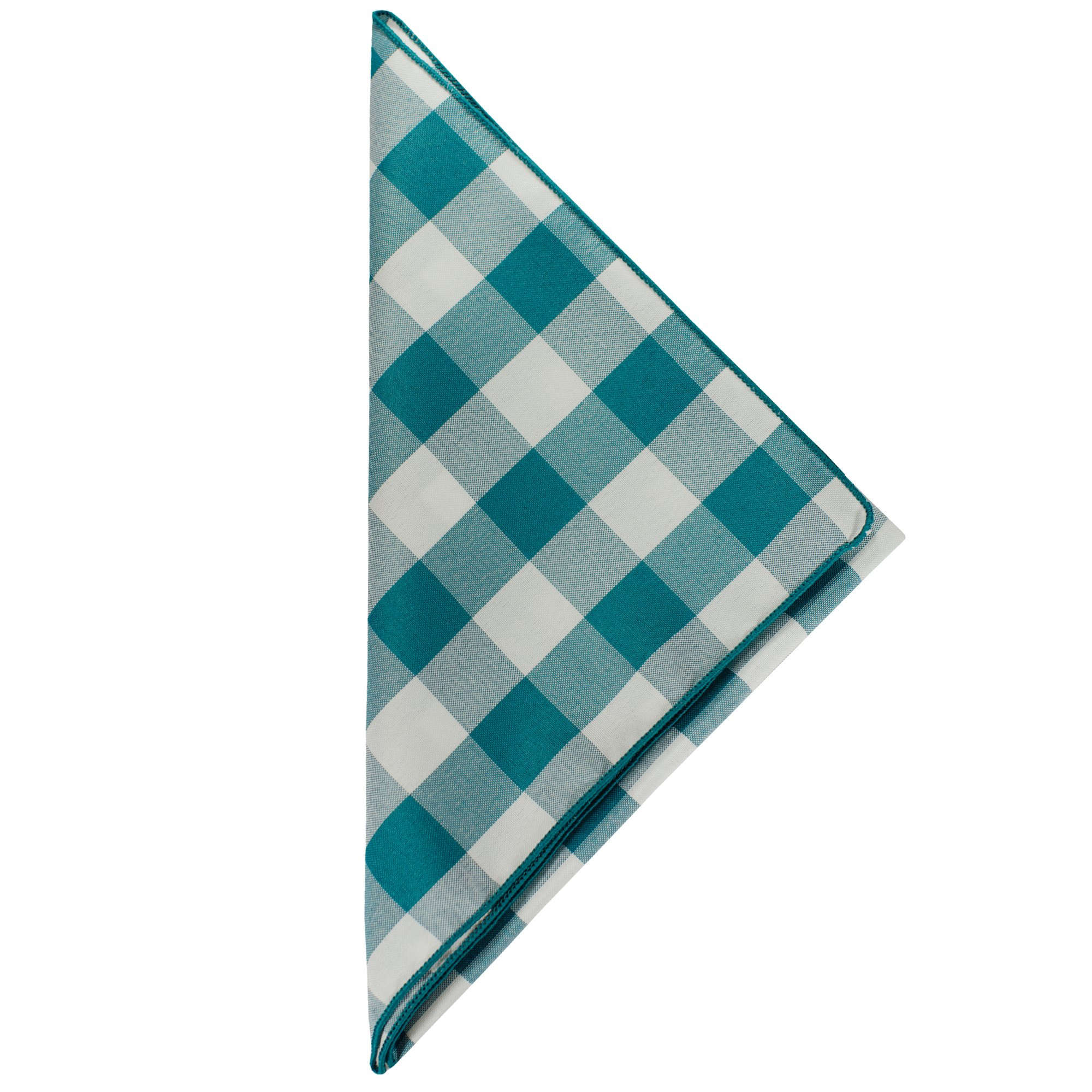 Ultimate Textile -10 Dozen- 10 x 10-Inch Polyester Checkered Cloth Cocktail Napkins, Teal and White