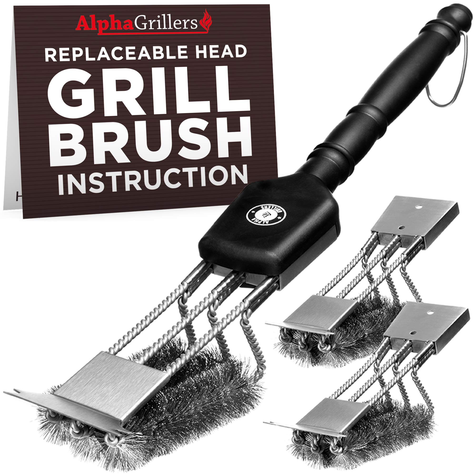 Alpha Grillers Grill Brush & Scraper with 3 Replaceable Heads | Best BBQ Cleaner. Perfect Tools for All Grill Types | Stainless Steel Wire Bristles and Stiff 18 Inch Handle. Ideal Barbecue Accessories by Alpha Grillers