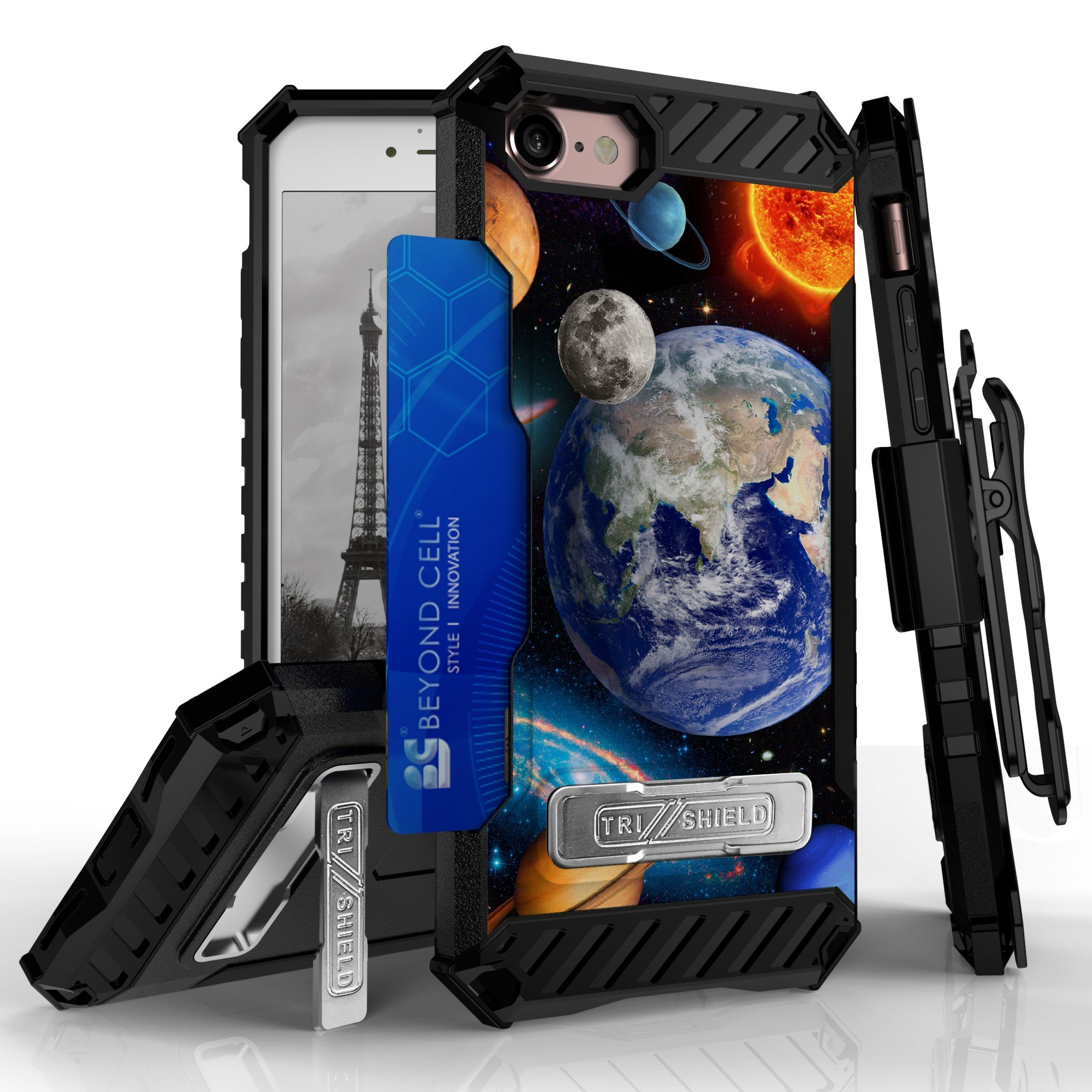 Iphone 8, Iphone 7 Case, Trishield Kombo Durable Rugged Phone Cover With Detachable Lanyard Loop Belt Clip Holster And Built in Kickstand Card Slot - Solar Planet Galaxy