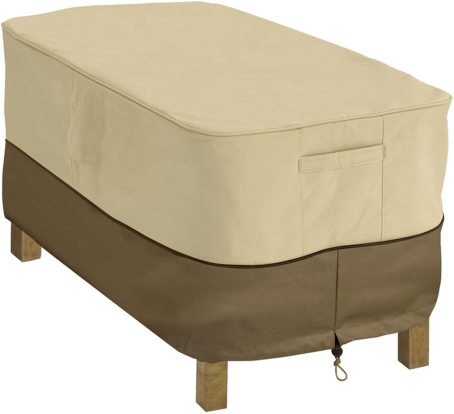Classic Accessories 55-121-011501-00 Veranda Rectangular Patio Coffee Table Cover, Pebble