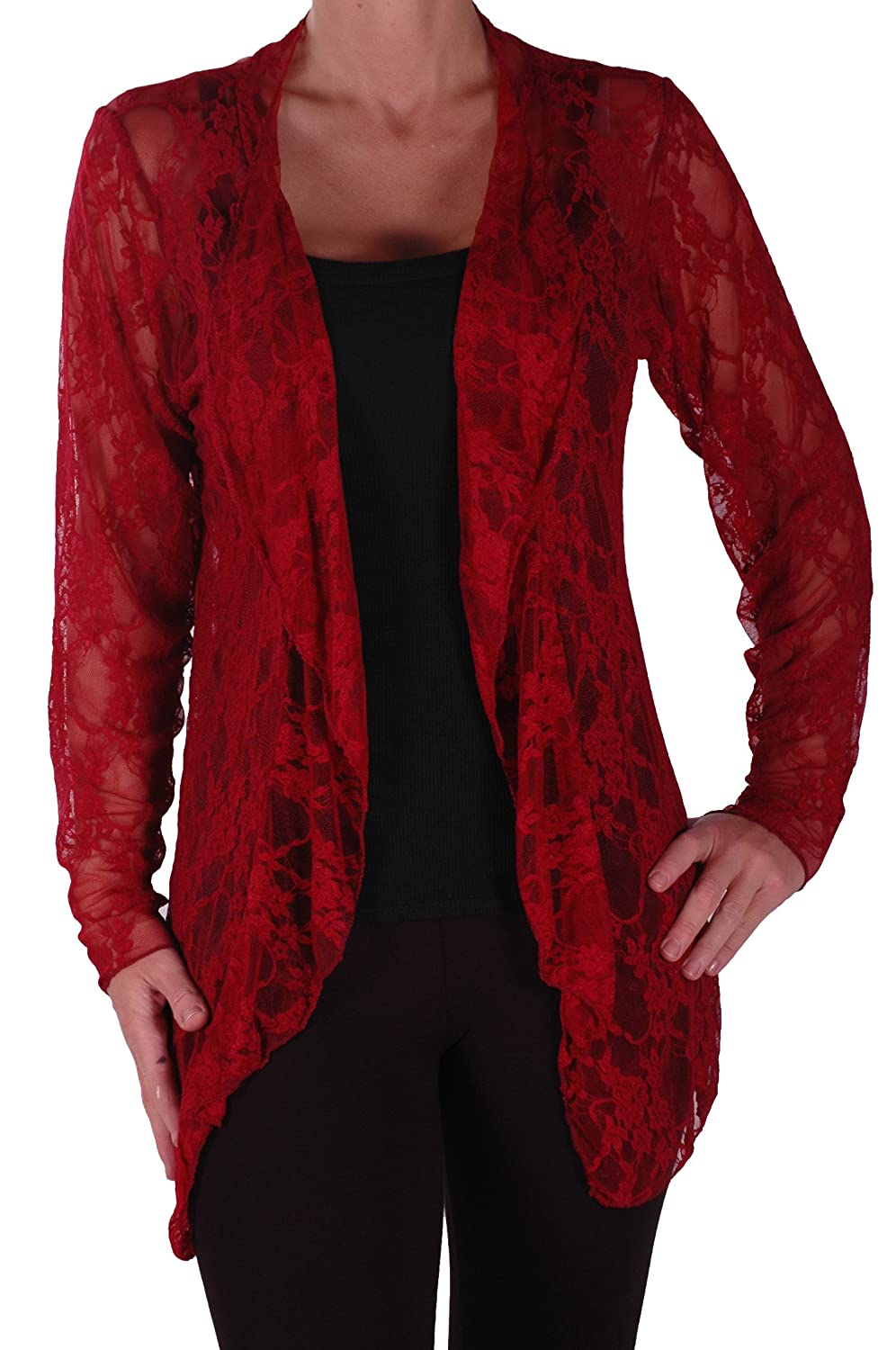 Eyecatch - Riya Womens Floral Lace Waterfall Cardigan Ladies Plus Size Open Cardi Sizes 14-28