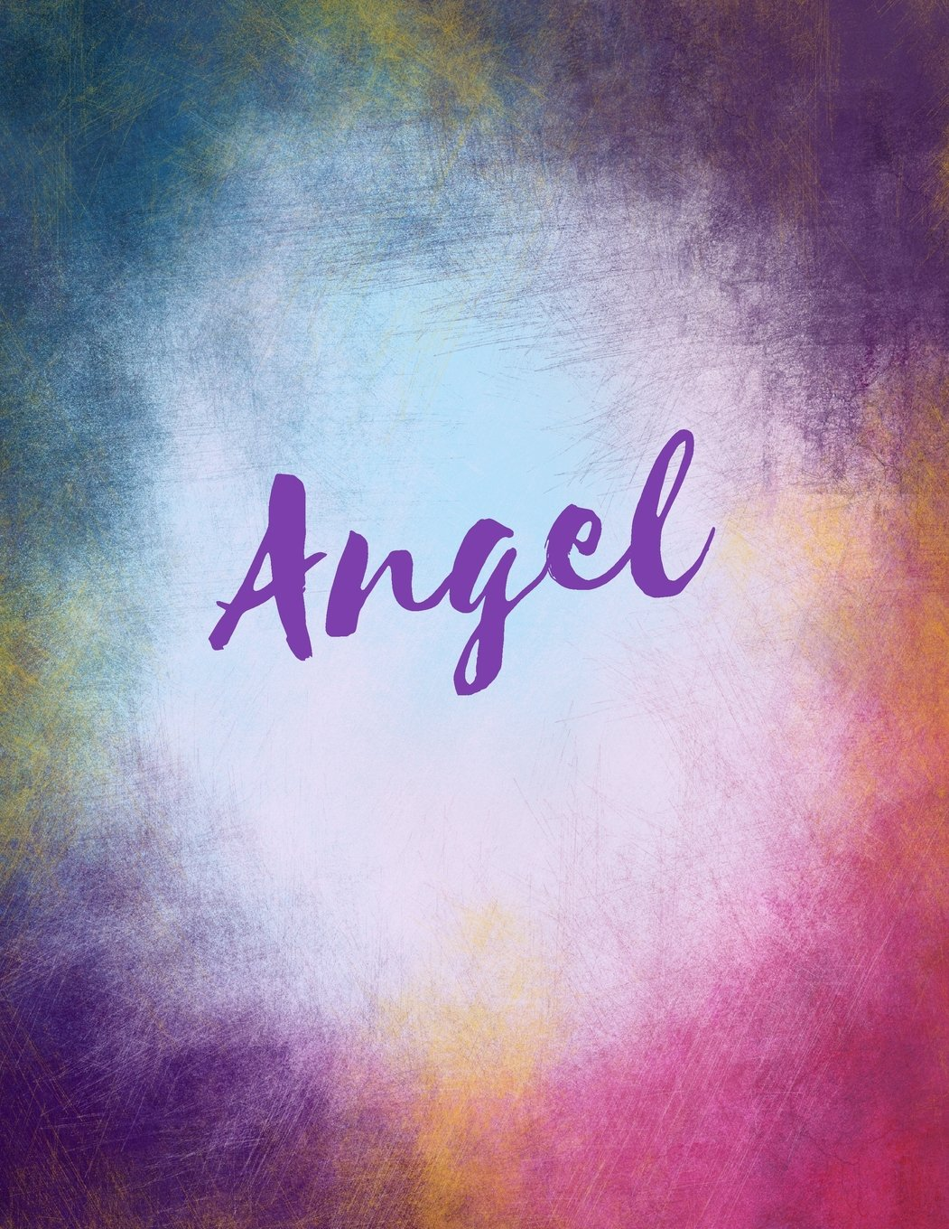 Angel: Angel sketchbook  journal  blank book. Large 8.5 x 11 Attractive watercolor wash purple pink orange & blue tones. arty stylish pretty journal for girls. pdf