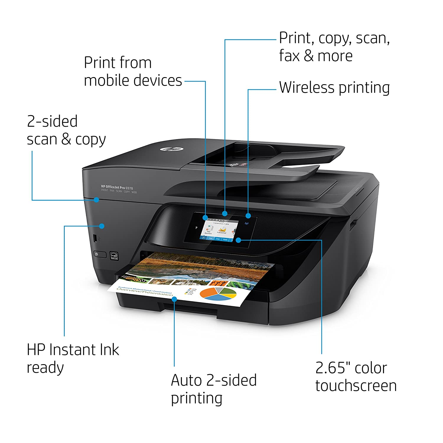 Color printing office depot - Amazon Com Hp Officejet Pro 6978 Wireless All In One Photo Printer With Mobile Printing Instant Ink Ready T0f29a Electronics