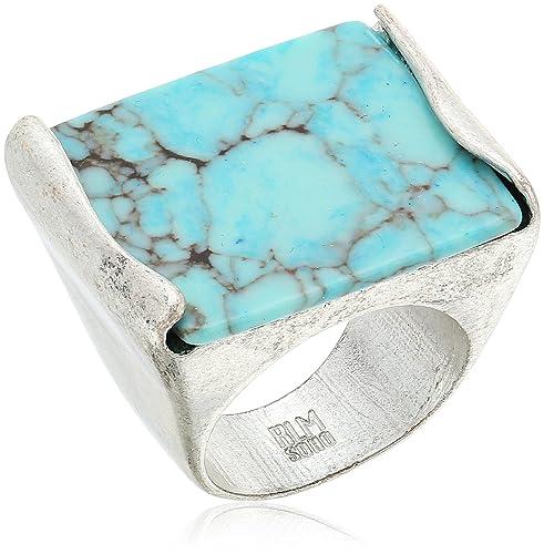 Robert Lee Morris Mosaic Semiprecious Turquoise Stone Ring, Size 8.5