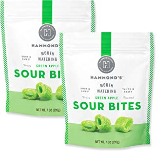 product image for Hammond's Candies - Sour Green Apple Bites - 2 Bags, Sweet and Sour Chewy Candy, For Movies, Snacks and Candy Trays, Handcrafted in the USA
