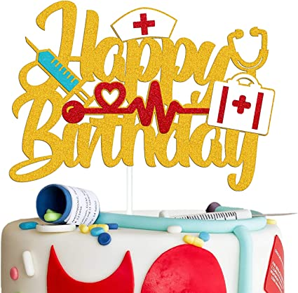 Amazon Com Decoración Para Tortas De Cumpleaños Para Enfermeras Con Temática De Doctor Enfermera Decoración Para Tartas Para Mujeres Hombres Niños Niños Niña Suministros De Fiesta De Cumpleaños Doble Cara Purpurina Dorada Toys