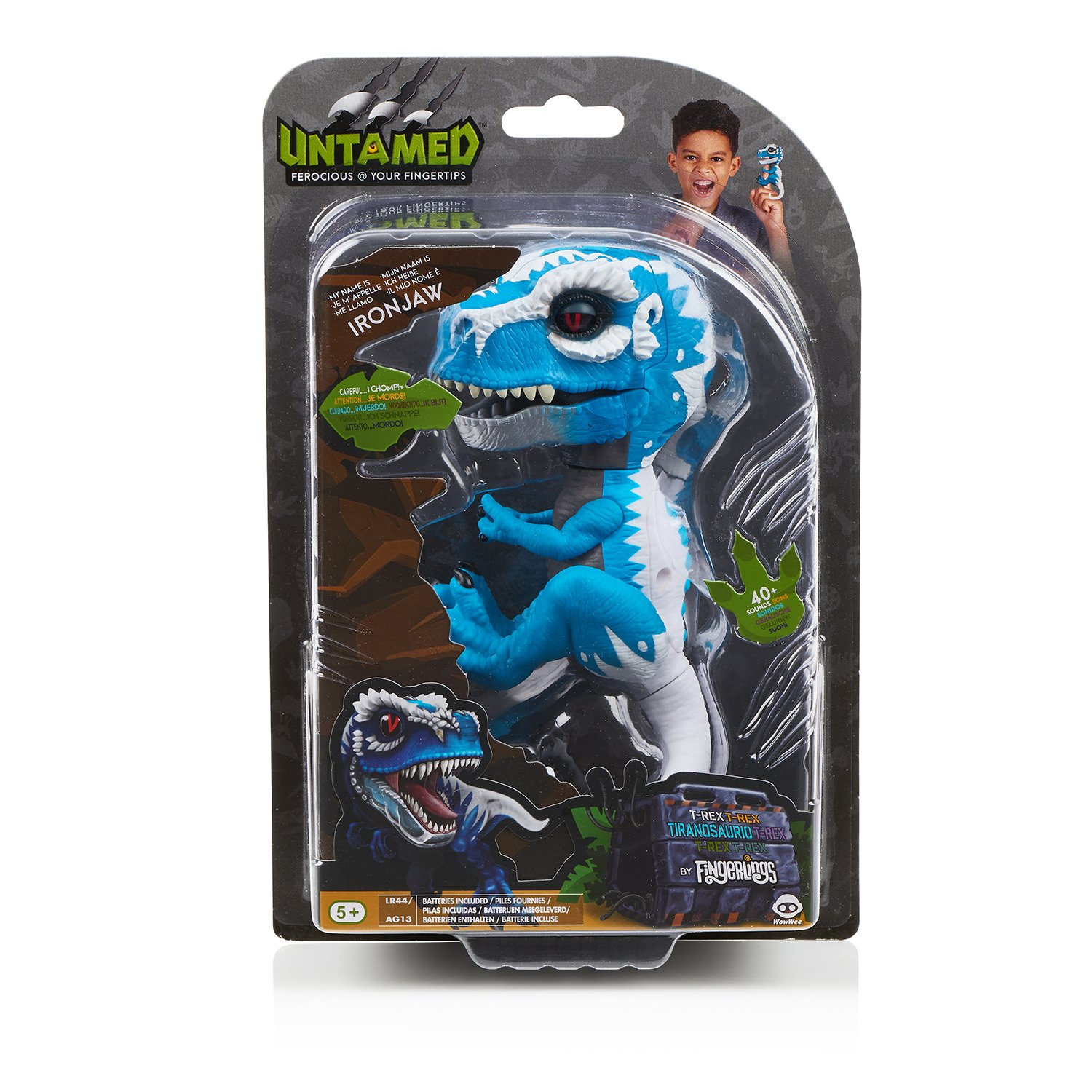 WowWee Untamed T-Rex by Fingerlings Ironjaw (Blue) -Interactive Collectible Dinosaur by WowWee (Image #8)